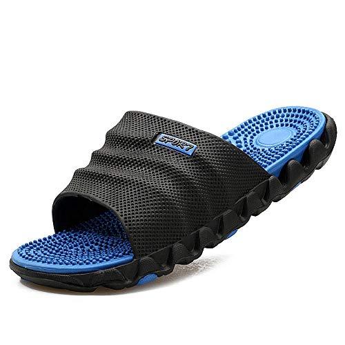 WHYES Sandalen für Männer, Herrenrutschen, Sommermassage-Gesundheitssandalen, Word-Herrensandalen und Hausschuhe in Schwarz und Blau_45