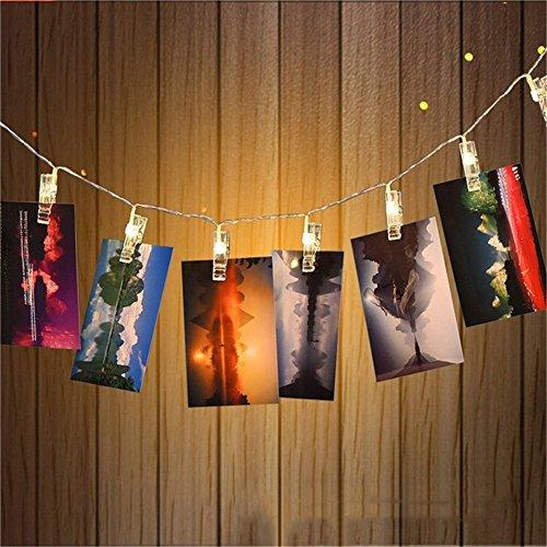 Zuoao LED Foto Clip Ghirlande, 30 Foto Clip, 3M 30LED, Catena di Luce per un Paio di Foto, Note, Creazioni, Foto-Clip Light Alimentato a Batteria (Non incluso) Luce Bianca Calda