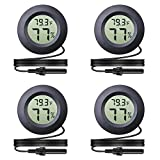 Veanic 4-Pack Mini Digital Round Hygrometer Thermometer Gauge with Probe Indoor Outdoor LCD Display Temperature Humidity Meter for Incubator Reptile Plant Terrarium Humidor Guitar Case