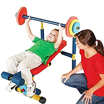 Kinfant Kids Exercise Equipment Weight Bench Set - Weightlifting Play Workout Equipment Best Gifts for Kids Children Boys