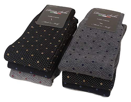 DREAM SOCKS 6 PAIA di calze calzini UOMO LUNGHE caldo cotone elasticizzate,100% Made in Italy,vari assortimenti (41/46, set.mix pois/puntini)