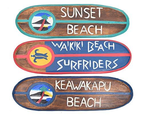 Interlifestyle Tabla de Surf 3 Decorativa 60 cm Waikiki Beach Surfrider Sunset Beach Maui Keawakapu Beach, Hawaii