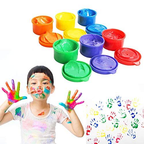 Juego De Pintura con Dedos, Juego De Pintura para Niños Lavable, Dibujo De Educación Temprana para Niños Pequeños - 6 Botes De 30 Ml: Rojo, Amarillo, Naranja, Violeta, Azul, Verde