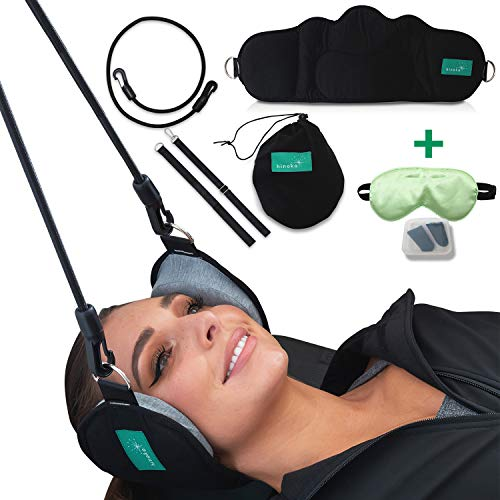 Head Hammock Portable Cervical Traction Device - Head, Neck Pain Relief, Back Stretcher on Doorknob for Physical Therapy - Durable Elastic Safety Cords, Memory Foam Support Silk Eye Mask, Ear Plugs
