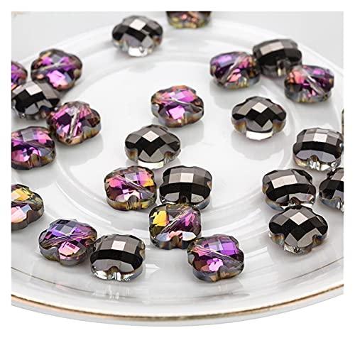 MURUI ZZ 10 unids/Lote 12 mm Corss Cuatro Hojas trébol Flor de Glass de Cristal Cuentas de Cristal para joyería Haciendo joyería DIY YC804 (Color : NO 2)