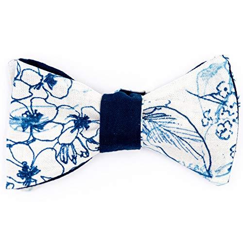 Handgenähte Herren Anzug - Fliege blau weiß mit Blumen/Schleife zum Selbstbinden - Selbstbinder - Querbinder: Rosso