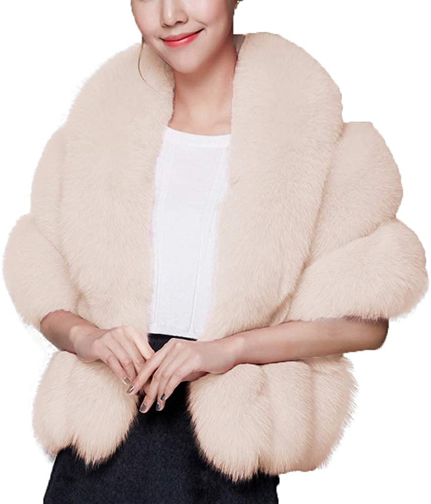 Caracilia Women Luxury Faux Fur Coat Jackets Wrap Cape Shawl for Wedding Party