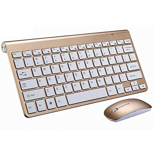 KOPOU Mini teclado inalámbrico y ratón, juego de teclado sin ruido de 78 teclas para ordenador/ordenador portátil/tableta, teclado USB de 2.4G