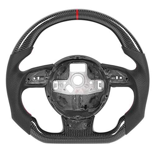 Aramox Lenkrad mit flachem Boden Passend für B8.5 RS3 RS4 RS5 RS6 RS7 2013-2016, Lenkrad Nappa Perforiertes Leder, Kohlefaser