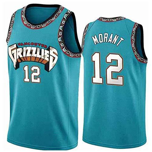 ZZH NBA Memphis Grizzlies #12, Ja Morant, Jersey Summer NBA Sports Uniformes, Baloncesto para Adultos Ropa Deportiva Entrenamiento Sin Mangas Unisex,Blue-M
