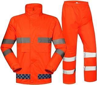 Hzjundasi Orange Reflective Rainsuit - Water Wind Resistant 2 Piece Suit Visibility Waterproof Protective Raincoat Pants S...