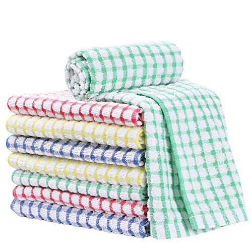 VEIDIA 8PCS Kitchen Dish Cloths 15x27 Inches 100 Cotton Dishcloths Super Soft and Absorbent Dish Rags Kitchen Dish Towels Multi Color