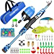 ODDSPRO Kids Fishing Pole, Portable Telescopic Fishing Rod and Reel Combo Kit - with Spincast Fishing Reel Tackle Box for Boys, Girls, Youth (Blue, 1.8M 5.91Ft)