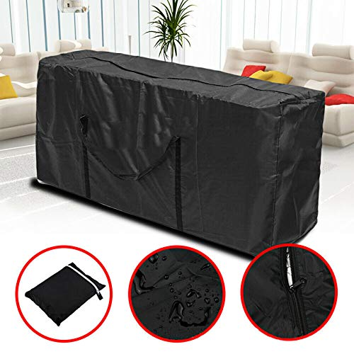 QULONG Christmas Roller Tree Storage Bag, Outdoor Furniture Storage Bag, Suitable for Unassembled Trees Up To 4 Feet High, Large Durable Storage Box,Black,122×39×55cm