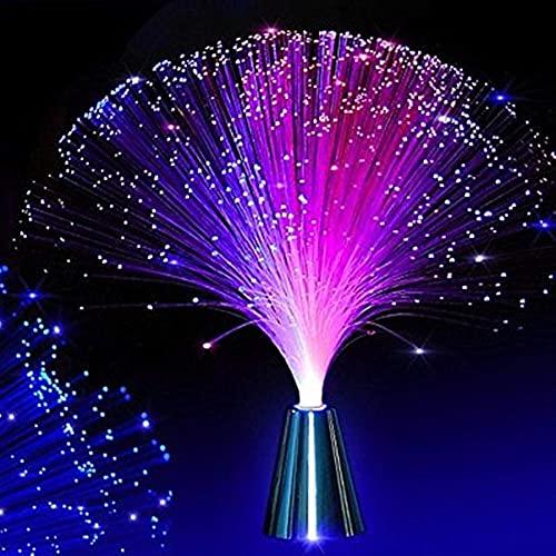 LEDMOMO - Lámpara de fibra óptica con diseño de fuente, cambia de color, funciona con pilas, luz nocturna