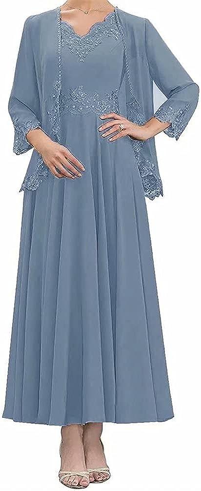 Mother of The Bride Dress for Wedding Plus Size Tea Length Elegant Formal Evening Dresses with Jacket