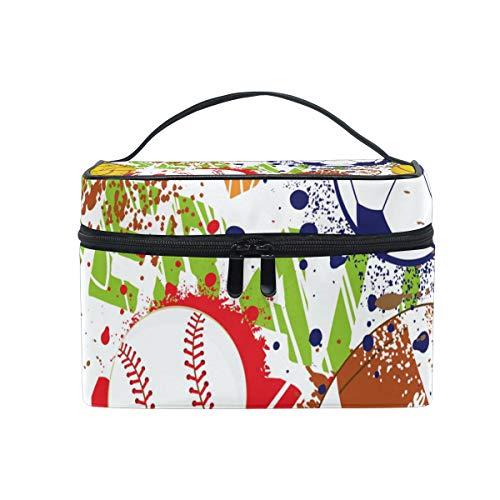 Make-up-Tasche, bunt, Baseball, Fußball, Rugby, Kosmetiktasche, Organizer für Damen, Mädchen, Kulturtasche, tragbare Aufbewahrung, Kosmetiktasche aus Segeltuch