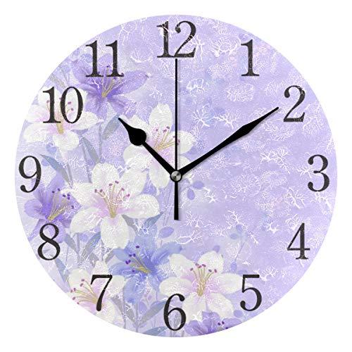 AABAO Reloj de pared redondo con diseño de flor morada, silencioso, pintura al óleo para dormitorio, salón, oficina, escuela, decoración del hogar