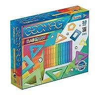 Il set Rainbow da 32 pezzi include 9 sfere, 12 barrette magnetiche e 11 pannelli color arcobaleno Geomag è il gioco di costruzione magnetico più famoso al mondo, costituito da barrette magnetiche e sfere metalliche Le barrette, tramite i magneti posi...
