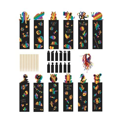 48 Pcs kratzbilder für kinder lesezeichen kinder kratzbuch mädchen Kratzbild Lesezeichen,Magic Regenbogen Scratch Papier mit Holzstiften und Bändern, für Kinder Studenten Bastelbedarf