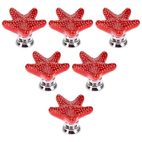 Perillas de cerámica de estilo mediterráneo con diseño de estrella de mar de 6 piezas para gabinetes y alacenas, perillas de cerámica pintadas a mano, tirador de cajón de gabinete, rojo
