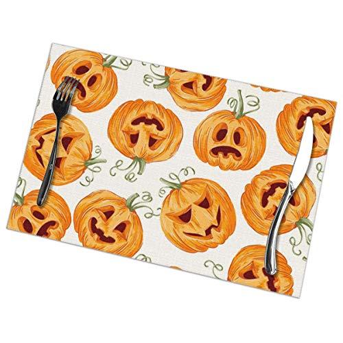 KSIYAF Manteles individuales de calabaza para Halloween, juego de 6 manteles individuales de poliéster, resistentes al calor, antimanchas, antideslizantes, lavables, manteles individuales, Blanco, Una talla