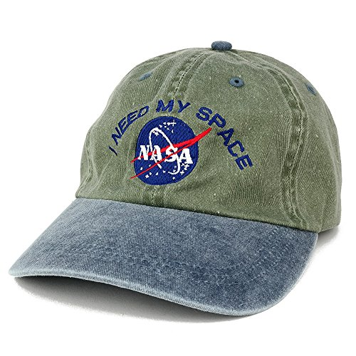 NASA I Need My Space Embroidered Washed Cotton Cap - (One Size, Olive Navy)