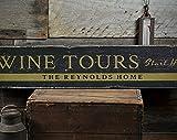 free brand Cartel de madera de Wine Tours Start Here, nombre de familia personalizado, decoración del hogar, cartel de bodega, rústico hecho a mano