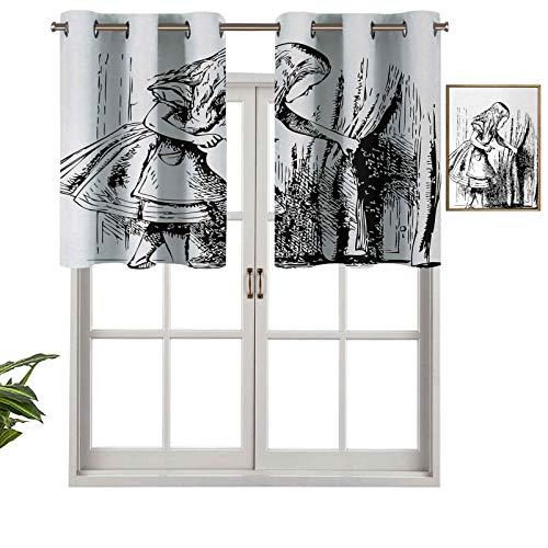 Cortinas opacas con aislamiento térmico y ojales cortos, cortinas negras y blancas, con aspecto de Alicia oculta, juego de 1, cenefas pequeñas de media ventana para dormitorio de 91,4 x 45,7 cm