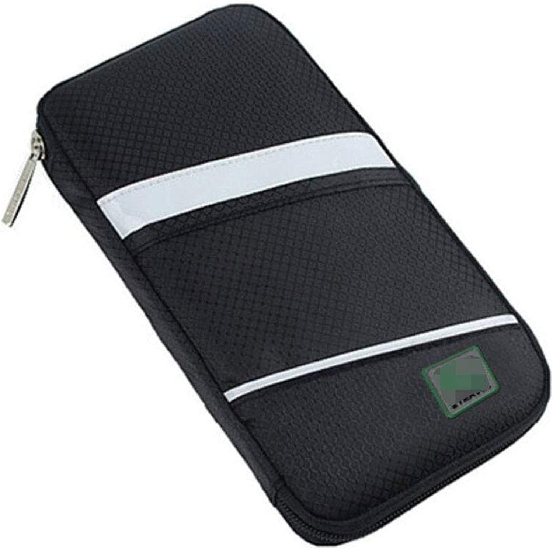 Unisex Geschäftsreisen Passport Wallet Wallet Wallet Lange Clutch Familie Ticket Dokumententasche Solid Farbe Reißverschluss Krotitkarteninhaber (Farbe   SCHWARZ, größe   One Größe) B07MMSNLYN 1b0164