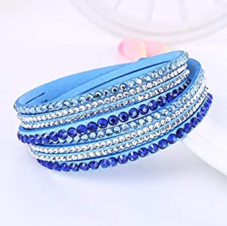 Bracelets Women Multilayer Leather Rhinestone Crystal Wrap Bracelets(Orange) Bracelets (Color : Light Blue)