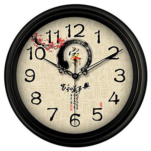 SJQ Europäische Retro stille Uhr Uhr antike Wohnzimmer American Hotel Cafe Wanduhr Nostalgie Uhr, 14 Zoll, F8 Home Affairs