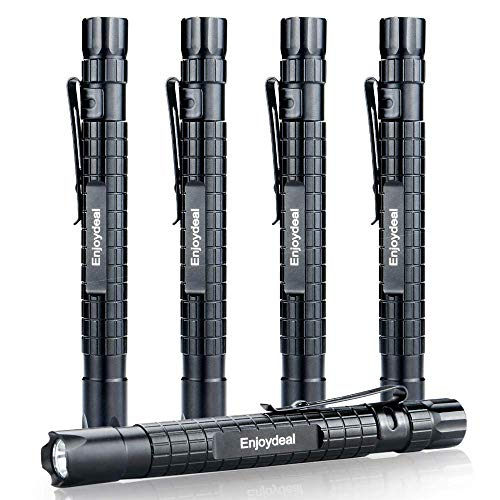 Enjoydeal 5PCS LED Pen Light Flashlight Ultra Slim XP-E R3 1000LM Penlight Waterproof Pocket Flashlight For Indoor Outdoor Inspection Work Repair and Emergency 5.5inch