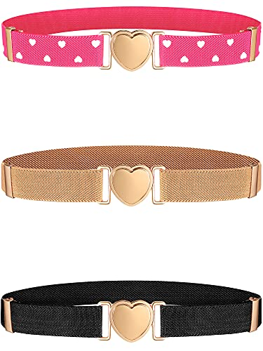 Hamry 3 Pieces Girl Belts Elastic Stretch Adjustable Heart Kids Belt for Baby Toddler Girls, Black, Pink and Apricot