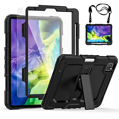 iPad Pro 11 Case 2020, 11 inch iPad Pro Case, Dual Layer Shockproof Full-Body Protective Cover with Tempered Glass Screen Protector, Shoulder Strap, Kickstand, Support Apple Pencil Charging
