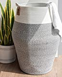 Goodpick Large Laundry Basket Woven Clothes Basket Cotton Rope Hamper Tall Laundry Storage for Blankets Pillow Basket in Living Room, Modern Curve Bucket 65cm Height