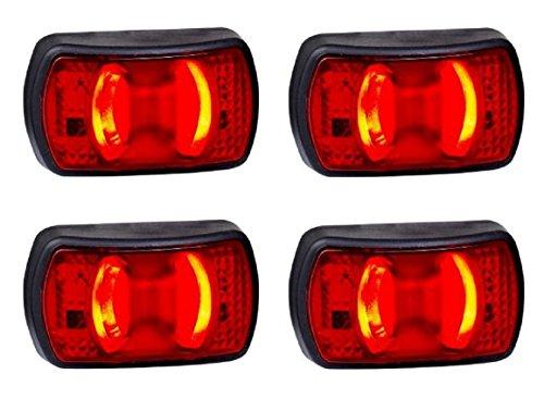 4 x LED achterkant, outline, rood, emarked lampen, IP68, bus, camper, van-spieraam voor aanhanger, vrachtwagen, caravan.