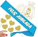 Inedit Festa Jubilación Banda Jubilació Banda Honorífica Personalizable Feliç Jubilació Bossa setí i 6 Toppers (Català)