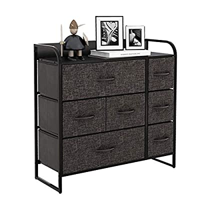 HOMOKUS 7 Drawers Dressers for bedroom, Closet Organizers and Storage, Storage Dresser- Fabric Dresser, for Living Room, Closets & Nursery - Sturdy Steel Frame, Wooden Top & Handles, Dark Grey
