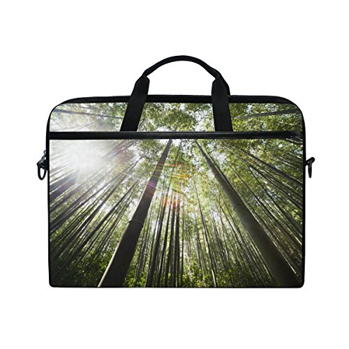 Ahomy Nature Forest Bamboo Sunlight Multifunktionale Stofftasche Wasserdicht Laptop Tasche Aktentasche Schultertasche Messenger Bag