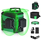 Self-Leveling Laser Level -SUNCOO 100ft Green Beam 3x360° Horizontal/Vertical Laser Line for Indoor Outdoor Picture Hanging Construction ,Magnetic Mount Base and Battery Included
