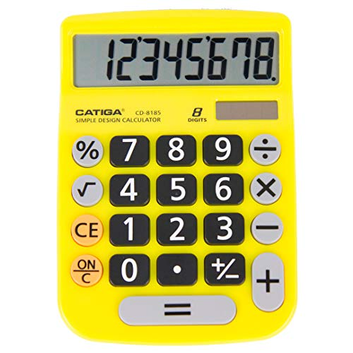 Basic Calculator: Catiga CD-8185 Office and Home Style Calculator - 8-Digit - Educational - Suitable for School and Destop-use (Yellow)