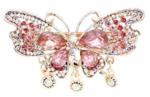 Plus Nao(プラスナオ) ヘアクリップ レディース 髪飾り バタフライ 蝶々 ヘアアクセサリー 髪留め ビジュー きれい かわいい 上品 お呼ばれ - ピンク