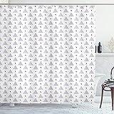 ABAKUHAUS skandinavisch Duschvorhang, Retro-Stil Dreiecke, mit 12 Ringe Set Wasserdicht Stielvoll Modern Farbfest & Schimmel Resistent, 175x180 cm, Schwarz