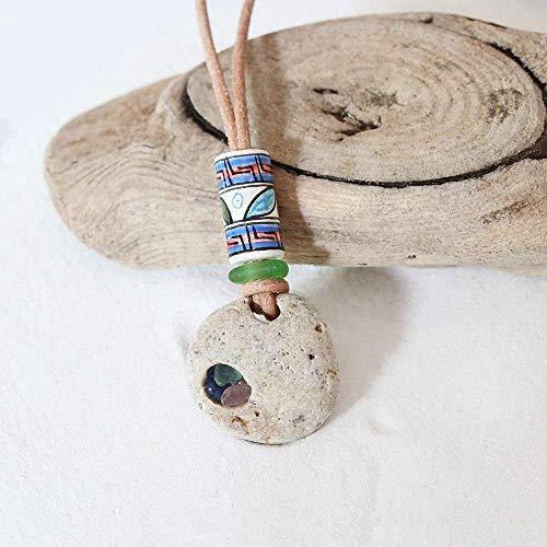 Halskette Hühnergott mit echtem Seeglas/Meerglas, Ethno, Tribal, Glücksbringer
