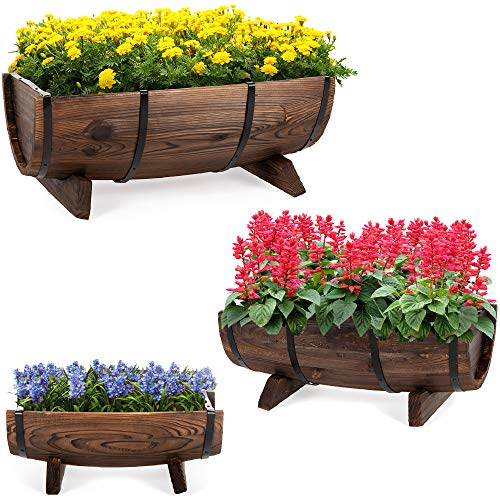 Best Choice Products Set of 3 Wooden Half Barrel Garden Planters Set Rustic Decorative Flower Beds for Plants, Herbs, Veggies w/Drainage Holes, Multiple Sizes, Indoor Outdoor Use