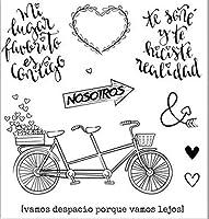 スペイン語の自転車透明クリアシリコンスタンプ/DIYスクラップブッキング用シール/フォトアルバム装飾クリアスタンプW1400