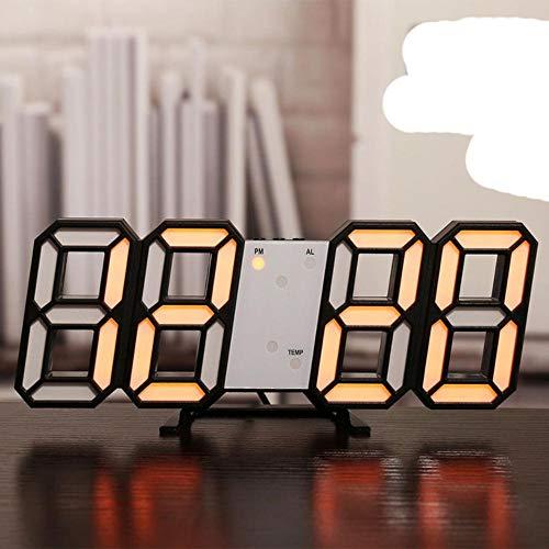 Reloj de Pared Digital LED, Alarma, Fecha, Temperatura, retroiluminación automática, Mesa, Escritorio, decoración del hogar, Soporte, Relojes Colgantes, Reloj de Pared 8