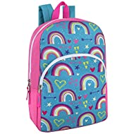 """Trail maker Kids Character Backpacks for Boys & Girls, 15"""" Backpack with Adjustable, Padded Back Straps (Rainbows)"""