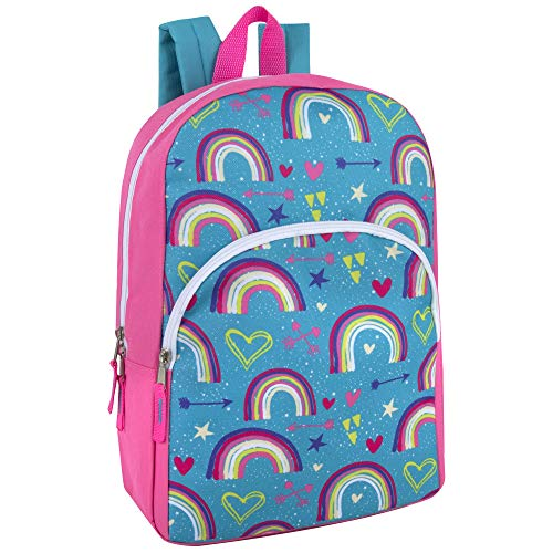 Trail maker Character Backpacks for Boys & Girls - Kids Backpacks with Adjustable, Padded Back Straps (Rainbows)